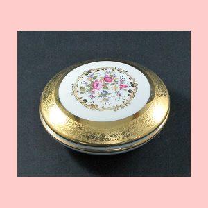 Caja Porcelana dorado y blanco 12cm diametro