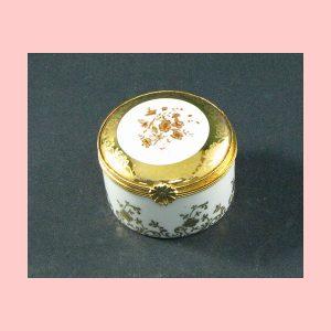 Caja miniatura Limoges blanco y dorado 3 x 5 cm